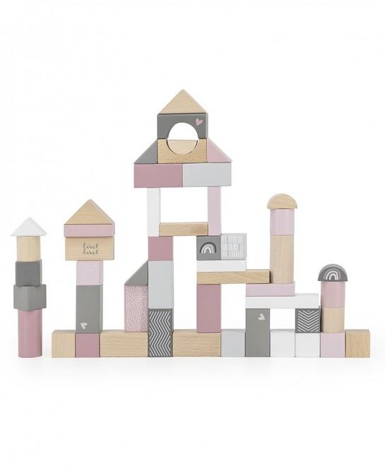 Wooden blocks 50pcs Pink