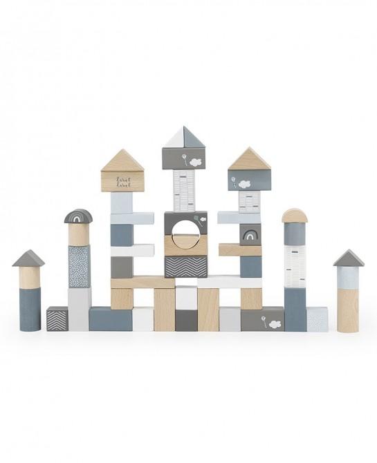 Wooden blocks 50pcs Blue