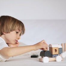 All aboard! 🚂  The stacking train is perfect for encouraging hand eye co-ordination and role play!   #labellabel #toytrain #woodentrain #woodentoys #homeplay #kidsplay #stackingtrain