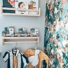 Our stacking train makes the perfect eyecatcher in the nursery. 😍    Thanks for the lovely picture @mulenka  #labellabel #toytrain # woodentrain #woodentoys #homeplay #kidsplay #stackingtrain #nurseryinspo