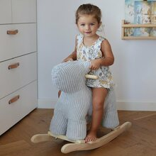 Our new rocking dog does not only put a big smile on your kids face, it will look very stunning in your interior too! 😍  #labellabel #rockingdog #rockinganimal #playroom #playroominspo #nursery #plushrocker