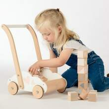 1,2,3 here we go! With this beautiful walker, your little one can explore and take their favorite blocks everywhere.  #LabelLabel #labellabelwood #Wood #WoodenToys #toystagram #FSC #FSCWood