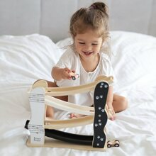 Does your little girl loves playing with cars too? 💗    #labellabel #woodentoys #woodencars #racecar #happykids #indoorplay #kidswoodentoys