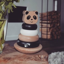 This cute back-and-forth balancing Panda will offer your toddler hours of fun and will challenge children to stack the rings on the base  #LabelLabel #WoodenToys #FSC #FSCWood #Wood #Ecological #Eco #Kids #Playing